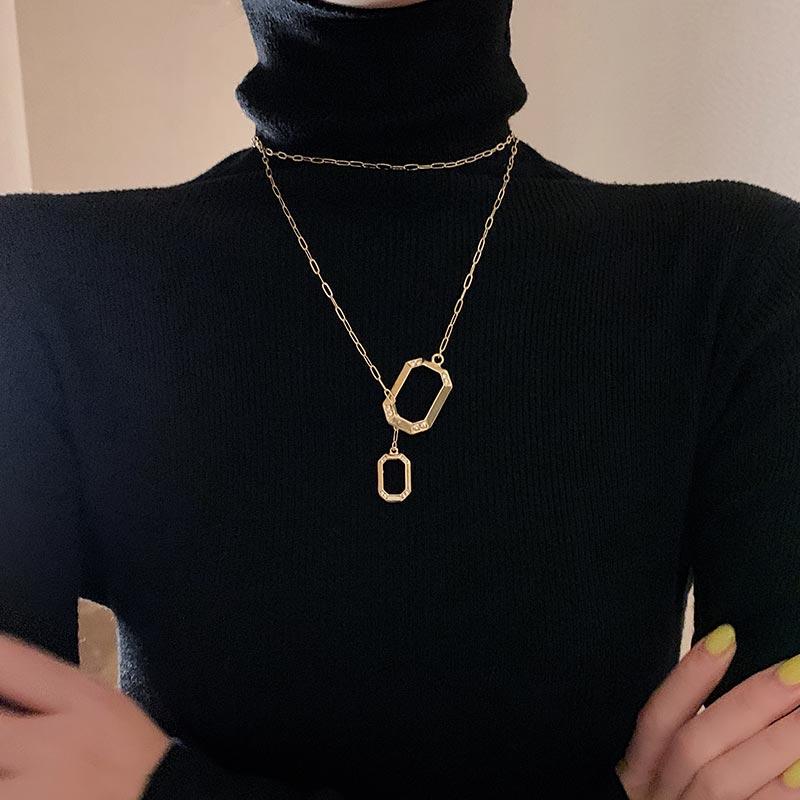 High Grade-End Rectangular Pendant Sweater Chain Long 2020 New Trendy Korean Temperament Online Infl