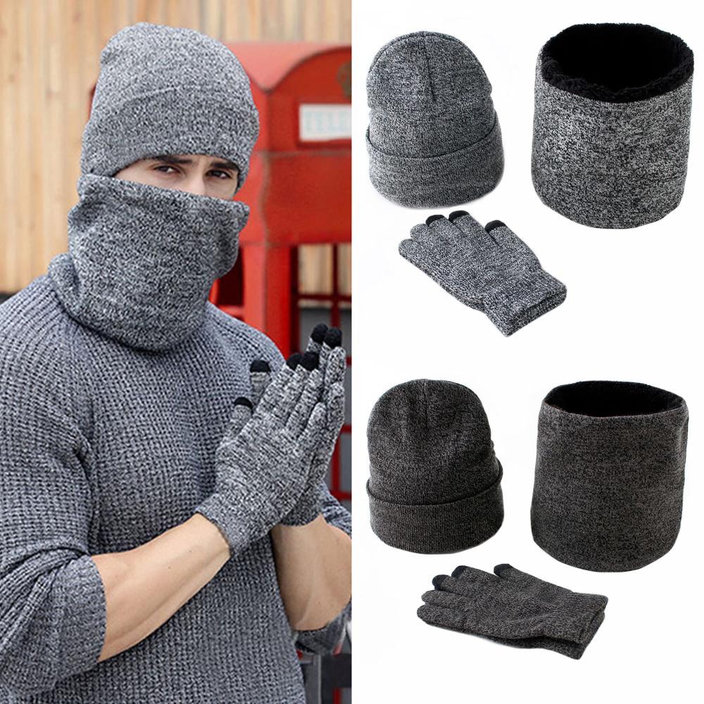 Men Winter Hats Scarves Gloves Set Fashion Knitted Plus Velvet Hat Scarf Set Kit Male 3 Pieces/Set Beanies Scarf Glove