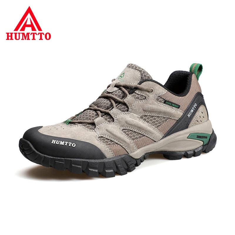 HUMTTO עמיד למים נעלי הליכה לגברים לנשימה החלקה טרקים נעלי גבר עור הרי קמפינג ספורט חיצוני מגפי Mens