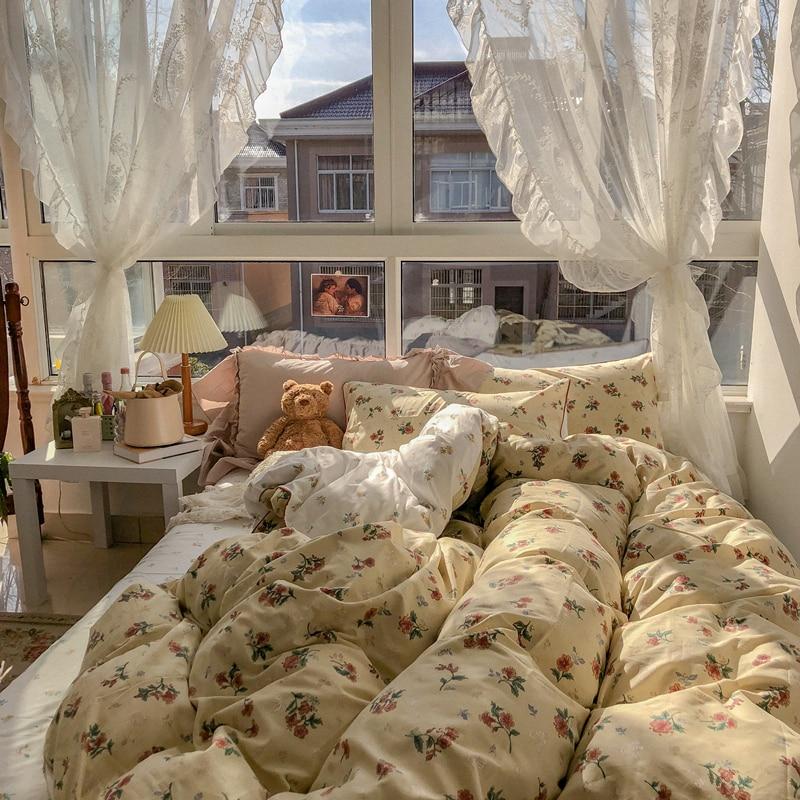 الرياح خمر الأزهار منتصف القديمة القطن أربع قطع لحاف من القطن غطاء غطاء سرير السرير
