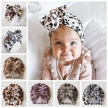 New Leopard Print Knotted Bow Hat Newborn Infant Toddler Turban Baby Girls Beanie Bonnet Cap Hair Accessories Photo Props Gifts