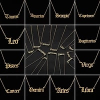 lady fashion golden twelve constellation necklace english alphabet constellation clavicle necklace for ladies party jewelry