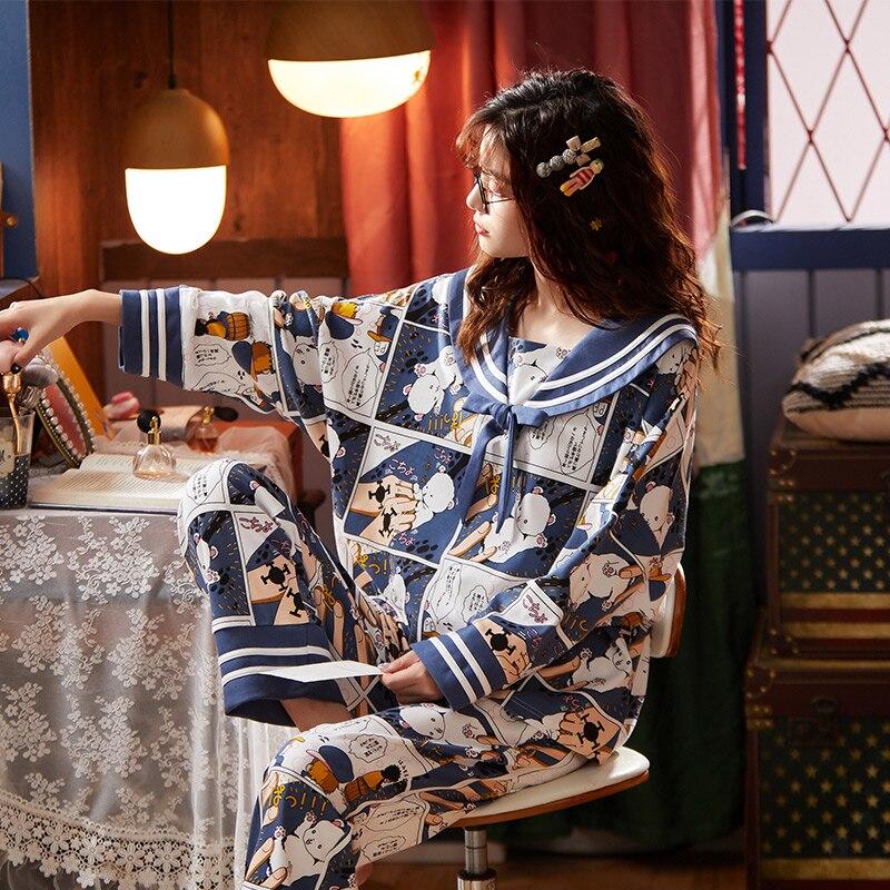بيجامة نسائية قطنية بأكمام طويلة ، بدلة منزلية كرتونية جميلة للربيع والصيف
