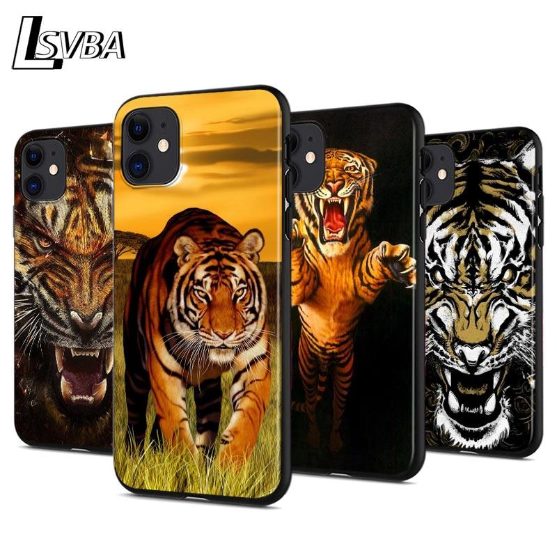 Funda de teléfono de silicona anticaída de leopardo Tigre a la moda para iPhone 11 Pro XS Max X XR 6S 6 7 8 Plus 5S funda negra suave