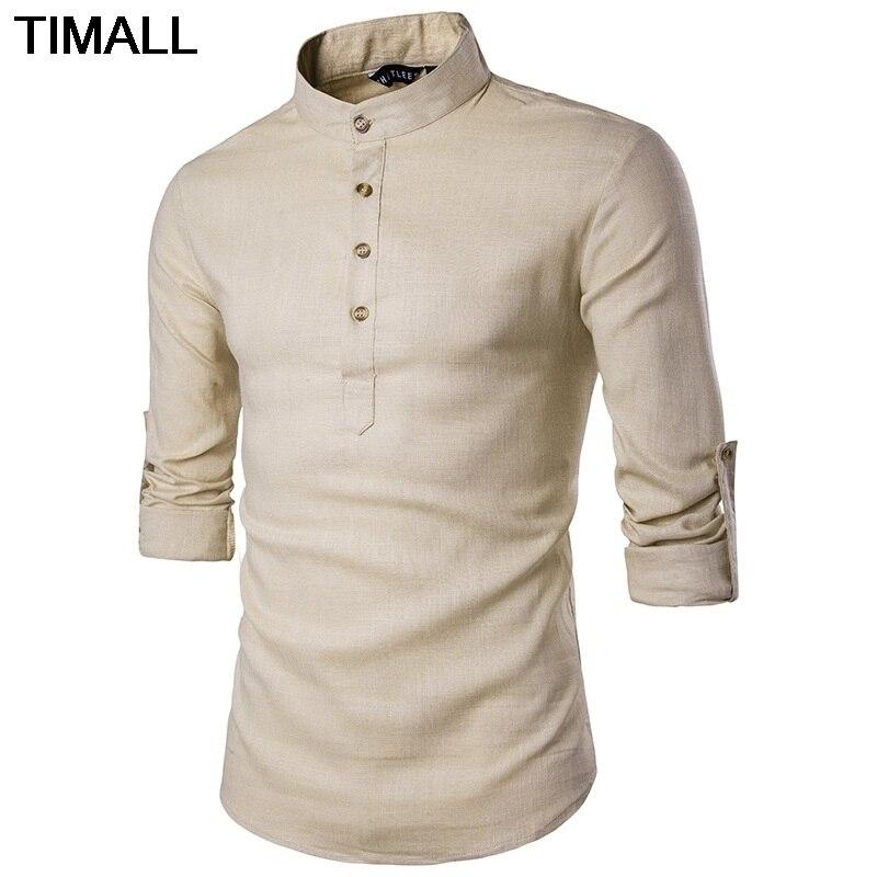 Nueva moda casual, color europeo, manga larga de color sólido, camisa de cáñamo de yardas grandes con cuello de Harry