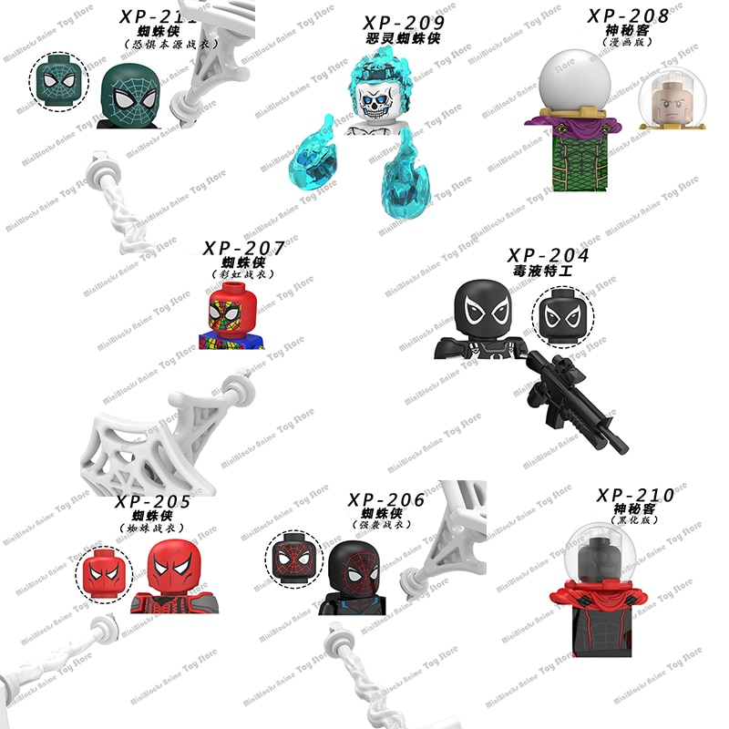 KT1028 Marvel тарио Человек-паук, строительные блоки, кирпичи, мини-фигурки героев, серии головок, детские развивающие игрушки, подарки на день рож...