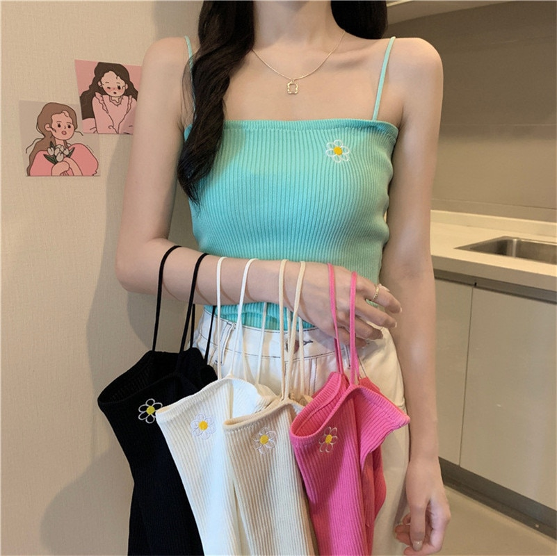 knitted checked tank top Sexy 2021 Summer Women embroidery Tank Top Fashion Ladies Sleeveless knitted Slim Crop Top Camisole Female Clothing Tanks
