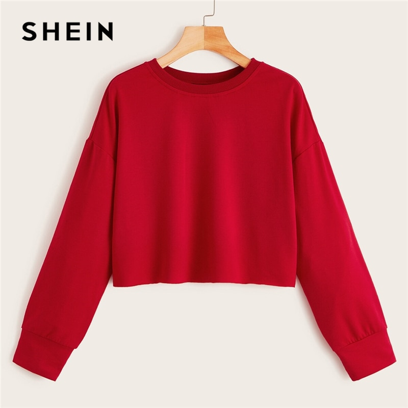 SHEIN Drop Shoulder Raw Hem Crop Sweatshirt Solid Pullover Women Summer Autumn Long Sleeve Round Neck Basic Casual Sweatshirts