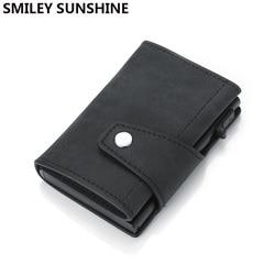 Rfid couro genuíno dos homens carteira titular do cartão de crédito trifold fino mini carteira masculina magia carteira inteligente vallet walket preto billfold