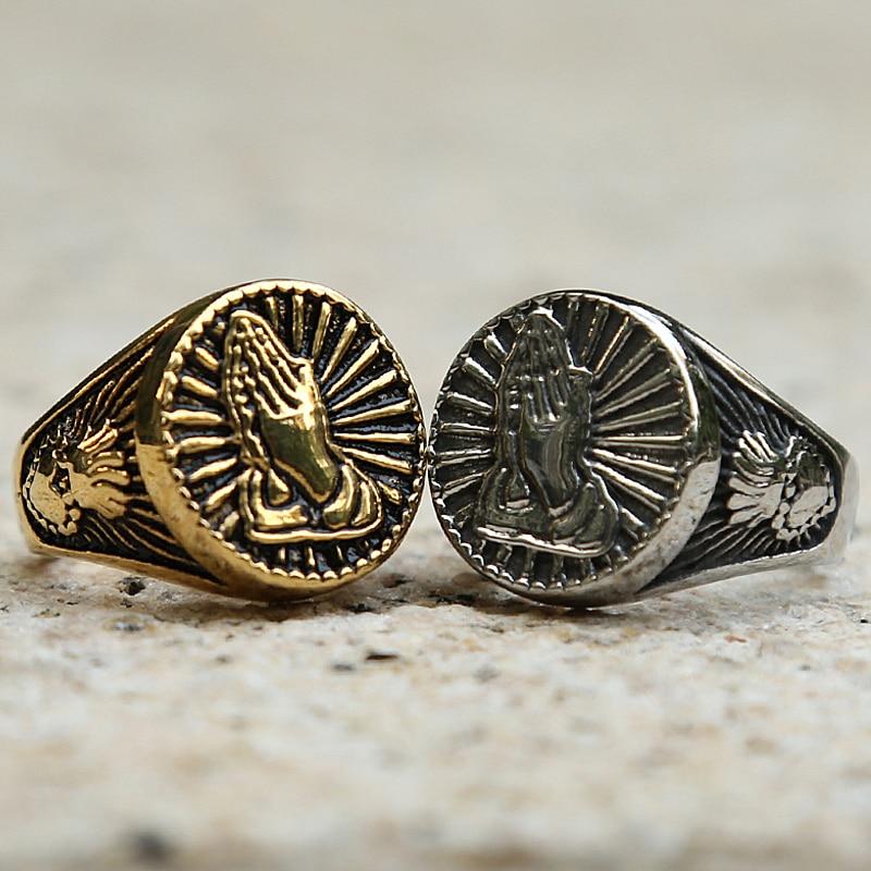 Vintage Gold Silber Farbe Christus Gebet Signet Ring Männer Frauen Crown Herz 316L Edelstahl Biker Ring Mode Glück Ring