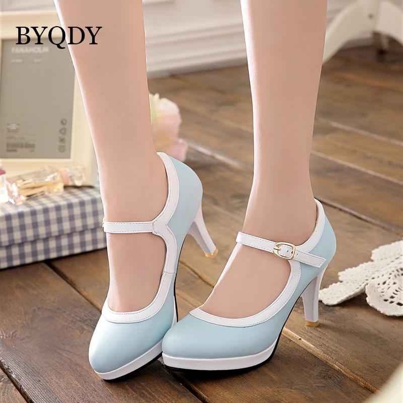 BYQDY ربيع الخريف لوليتا أحذية الزفاف للمرأة عالية الكعب ماري جينس أحذية الحلو الكعوب مشبك فستان بحزام USA حذاء حجم كبير