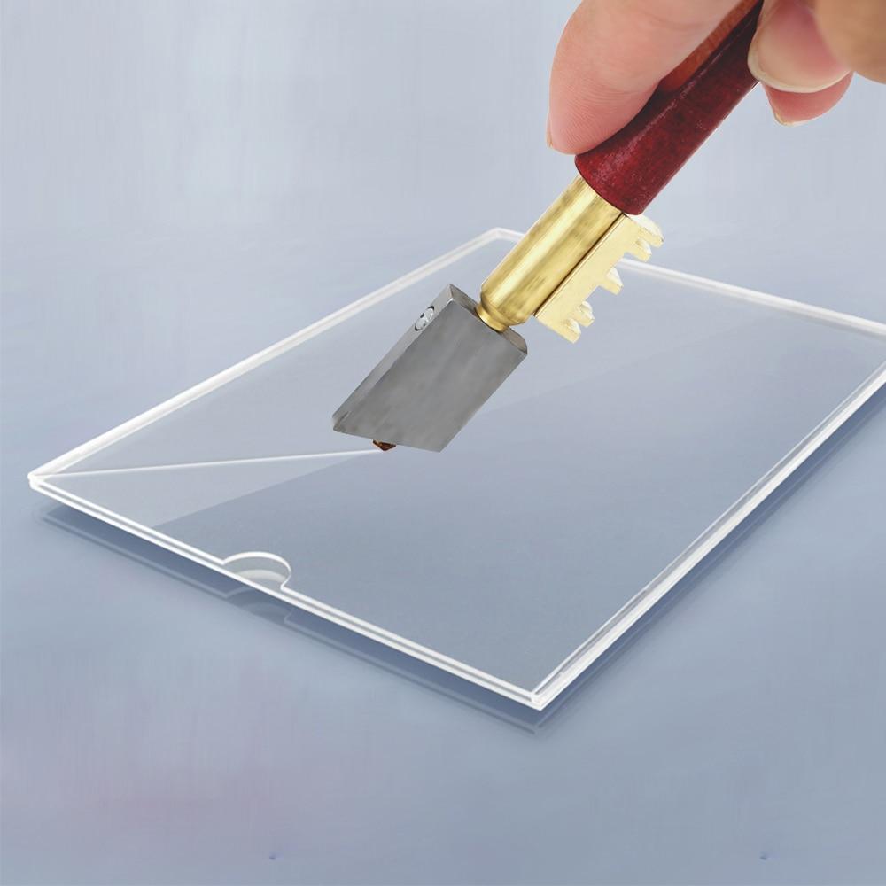 Herramienta de corte de diamante de vidrio, cortador de vidrio de diamante único, cuchillo afilado portátil de 17mm