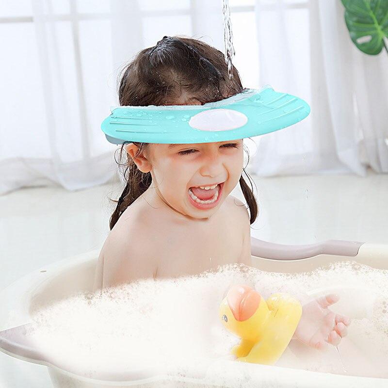 Gorro de ducha para bebé, gorro de champú, gorro de baño para niños, gorro con visera ajustable, protección para la oreja, impermeable, protección para los ojos, sombreros infantiles AXP083