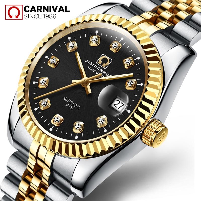 TopBrand KARNEVAL Automatische Mechanische Männer Uhr Luxus Casual de negocios de männer Stahl Armbanduhr Diamant oro Beschichtung Mo