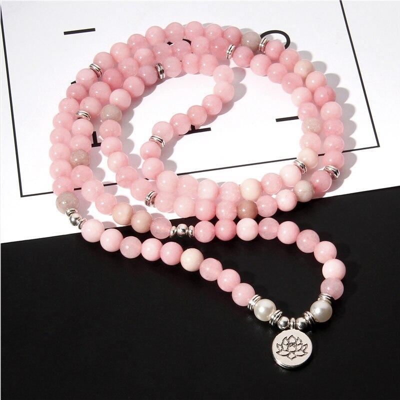 Handgemachte 108 Buddha Mala Natürliche Rosa Kristall Quarz Perlen Armband Lotus Blume Healing Glück Charme Armband Schmuck Für Frauen