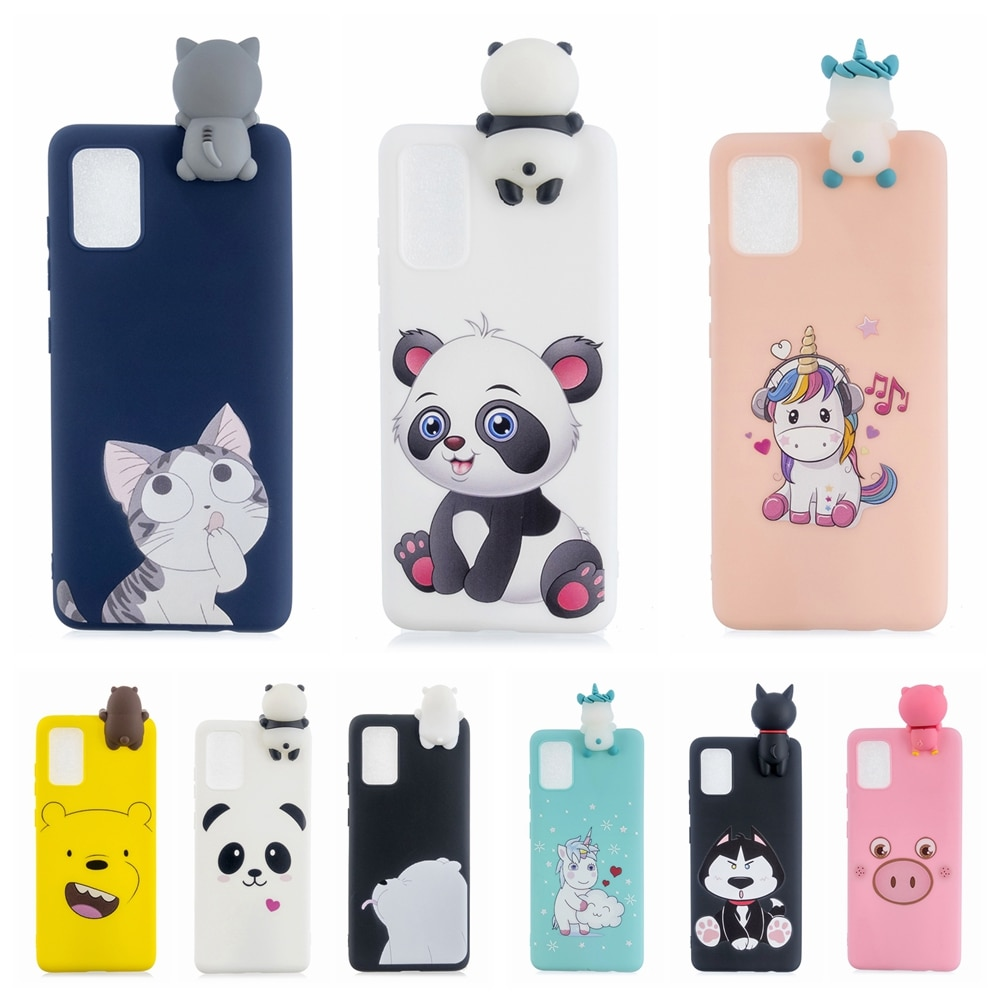 A30S A50 Case on for etui Samsung A10 A20 A30 A40 A50 A70 Kawaii Unicorn Panda 3D Cover for Galaxy A10S A20S A30S A50S A20E Case