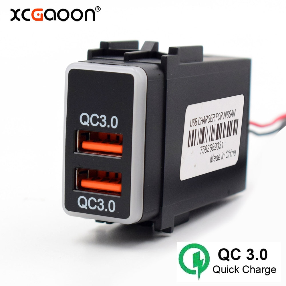 XCGaoon especial QC3.0 Quickcharge 2 interfaz USB adaptador de cargador de coche para NISSAN, convertidor inversor de corriente DC-DC
