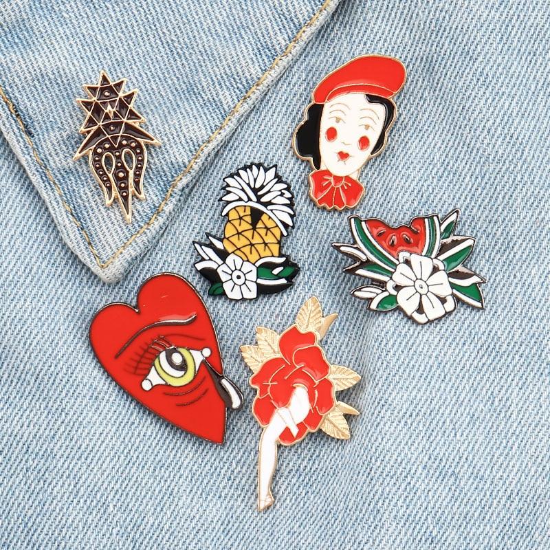 Красный цветок ананас арбуз сердце слеза девушка жесткий эмалированный Pin набор броши значки ювелирные изделия отворот булавка для женщин ...
