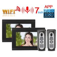 7in 2V2 Verdrahtete Wifi Video Intercom Türklingel System Remote APP Control Wasserdichte IR 1080P 100-240V Türklingel