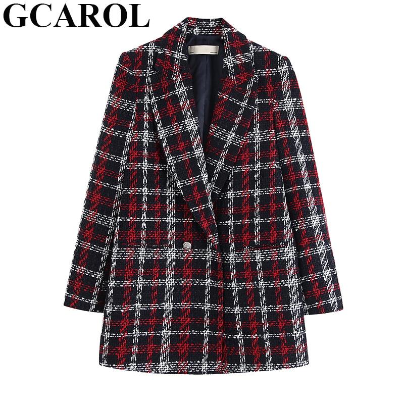 GCAROL женский твидовый двубортный клетчатый пиджак на кнопках, толстый теплый элегантный костюм, пальто на весну, осень, зиму, верхняя одежда
