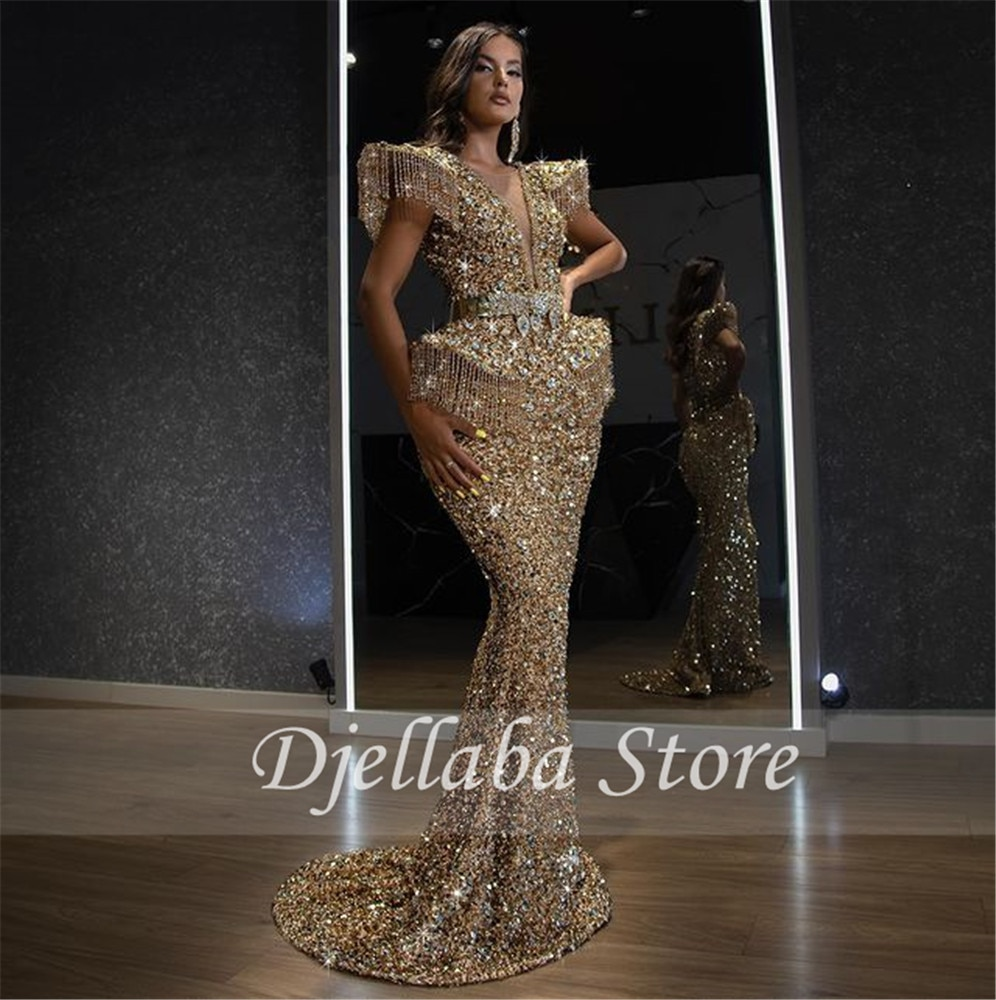 فستان سهرة فاخر للعرب بدبي بالخرز, فستان سهرة رسمي فاخر للنساء بتصميم حورية البحر باللون الذهبي من موضة 2021 ، مناسب للحفلات الراقصة