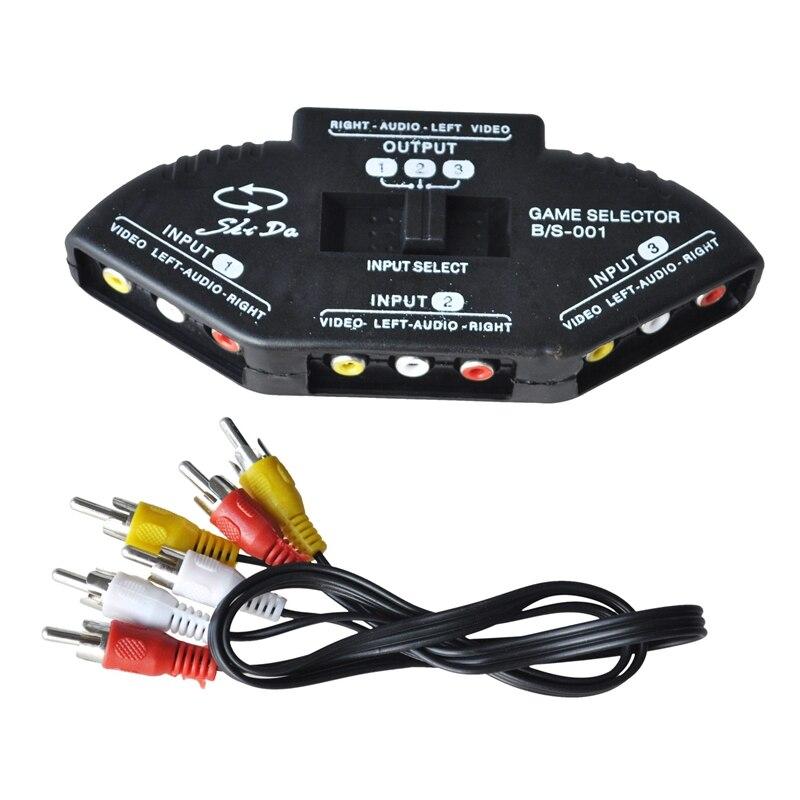 Negro Nuevo 3 puertos AV Audio RCA Selector interruptor