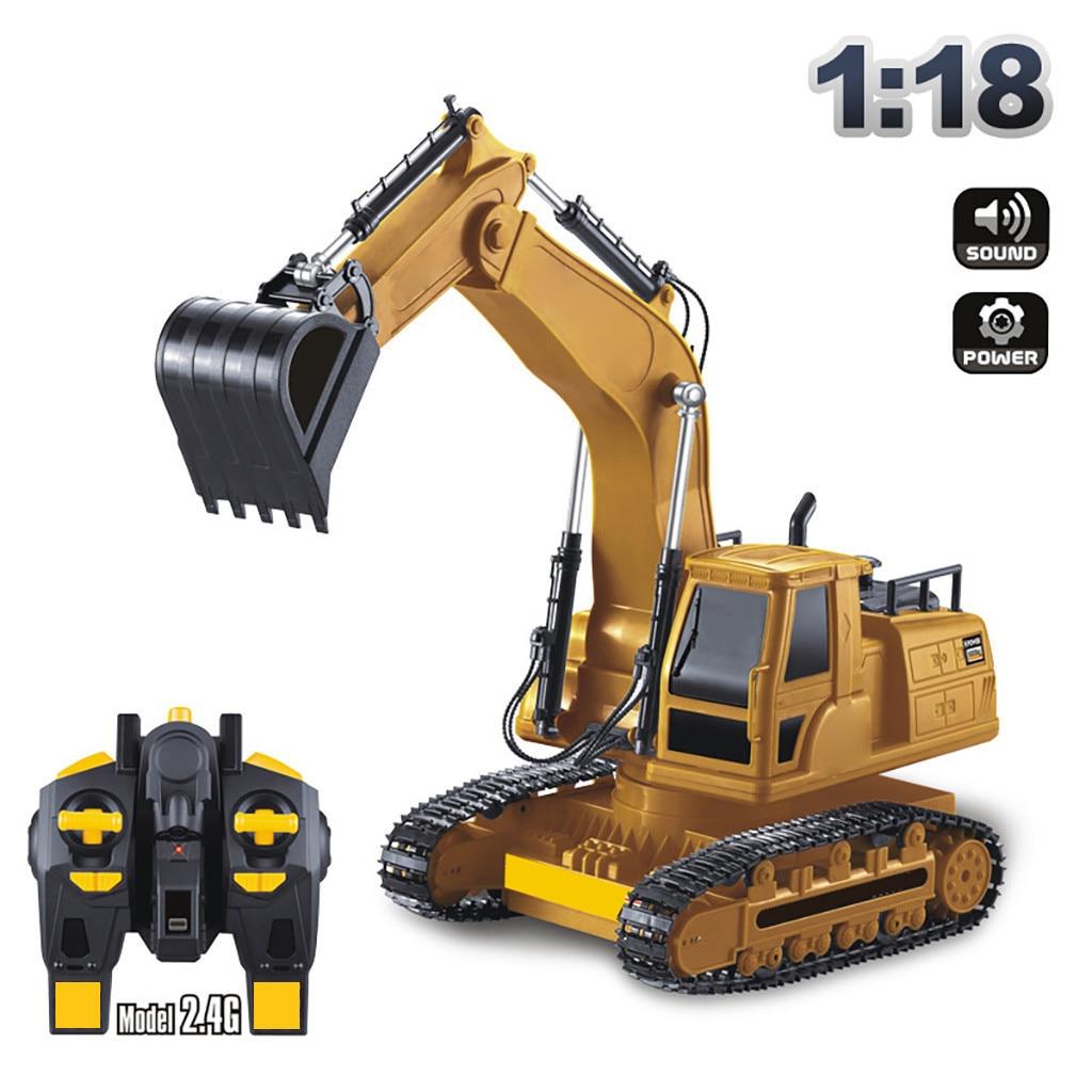 Full-featured Escavadeira Rc 2.4g 8ch Rc 118 Veículo de Engenharia Elétrica Construção Trator Sobre Esteiras Crianças Brinquedo Dom Трактор