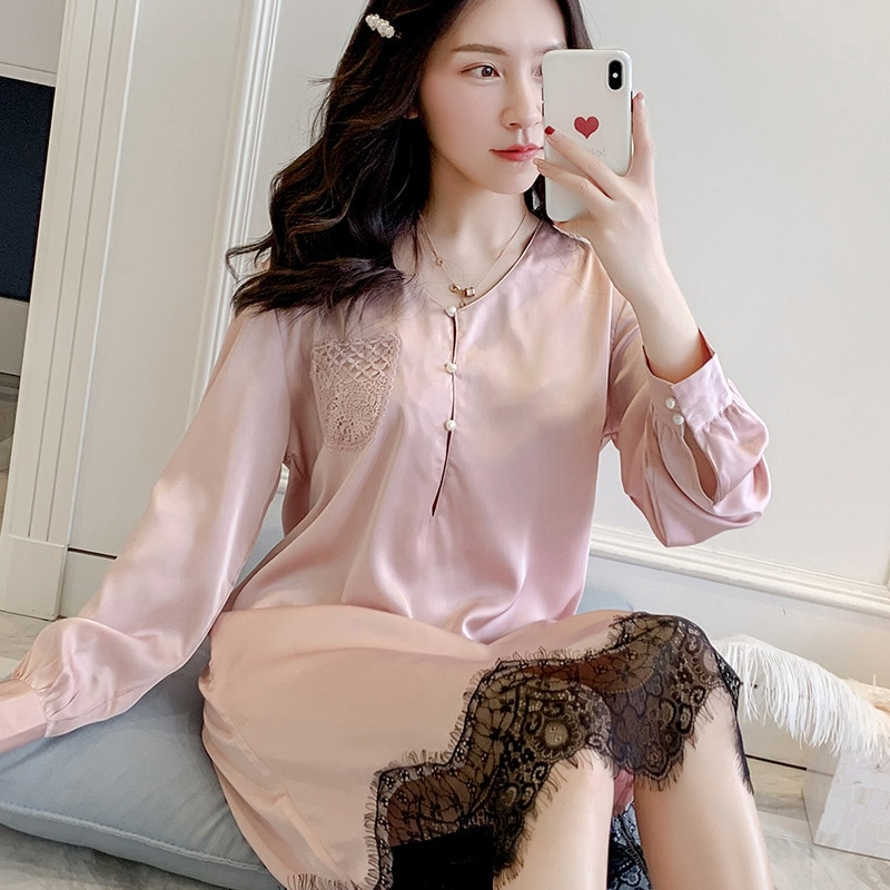 Korean Sexy Women Nightwear Long Sleeve Lace Princess Sleepwear Autumn Silk Chemise Stain Nightgown Pink Plus Size Nighties 2020