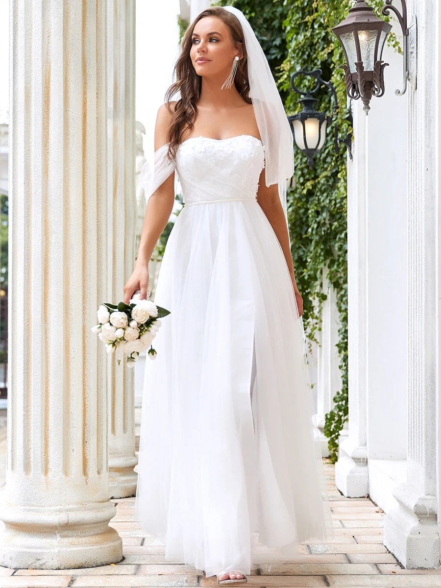 Review Sexy Wedding Dress Tulle With Slit  A Line Strapless Sleeveless Bride Dresses Back Backless Lace Robes De Mariée Vintage