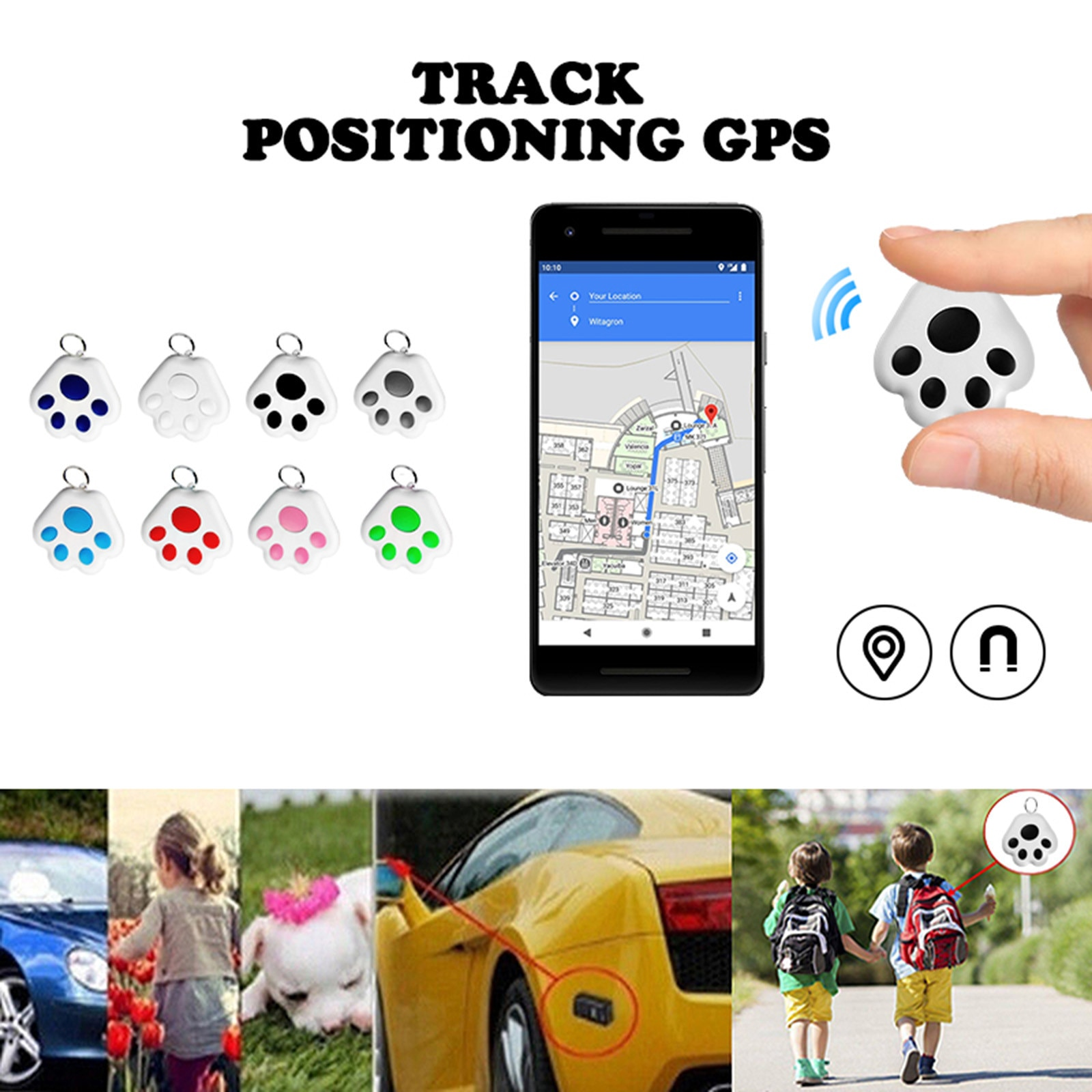 Smart Gps Tracker Pets Dog Mini Tracking Positioning Waterproof Bluetooth Locator Accessories Abs Finder Locator In Stock