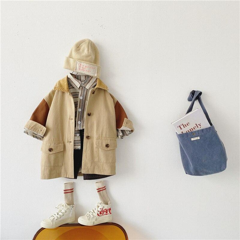 2021 New 1-6year Children Autumn Coat Fashion Baby Patchwork Long Jacket Cotton Boys Windbreaker Lon