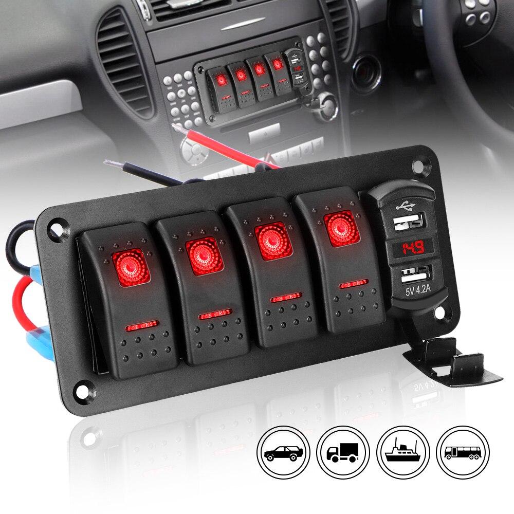Автомобильный переключатель с 4 клавишами, тумблер, двойной USB-порт, светодиодный цифровой вольтметр, водонепроницаемый, 12 В/24 В, для автомобиля, морской лодки