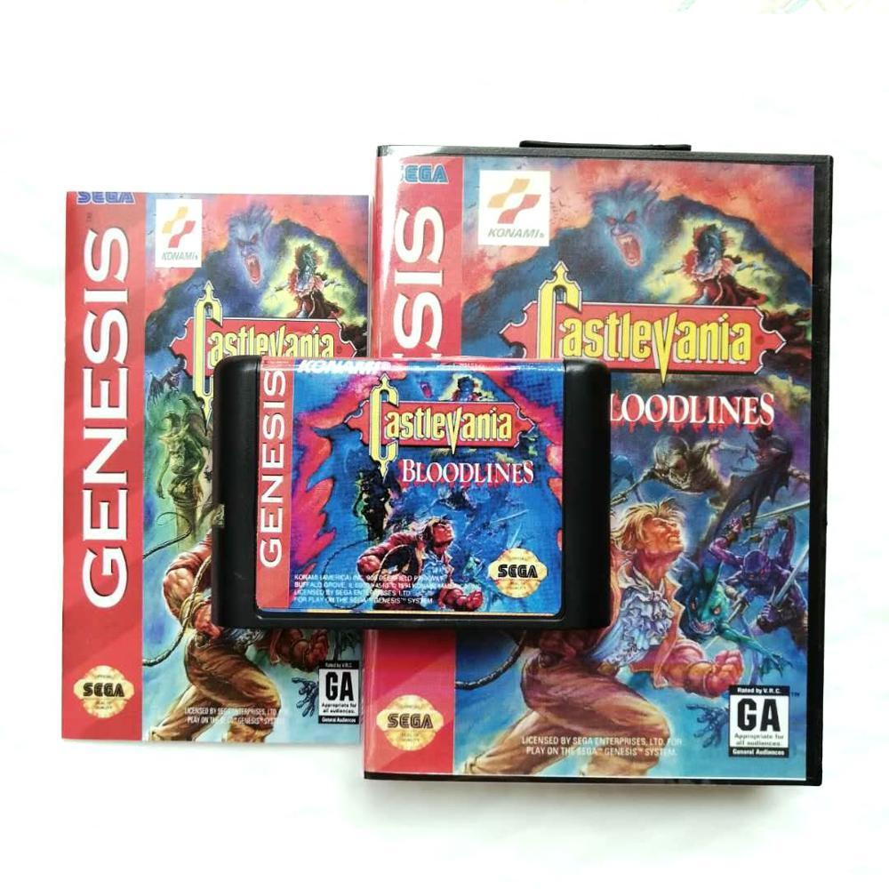 Bloodlines de Castlevania para 16 bits, Sega Genesis/Megadrive, consola de cartucho de videojuegos con caja de venta al por menor y Manual de instrucciones