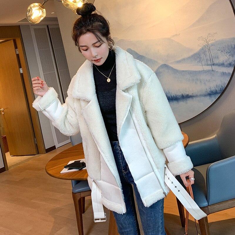 Beige Fur Faux Lamb Leather Jacket Coat Korean Women With Belt Turn Down Collar Loose Winter Thick Warm Zipper Oversized Coat enlarge