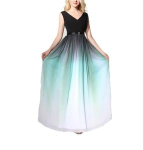 Evening Dress V-neck Elegant Gradient Ruffled Long Chiffon Women's Formal Evening Dress Pleated