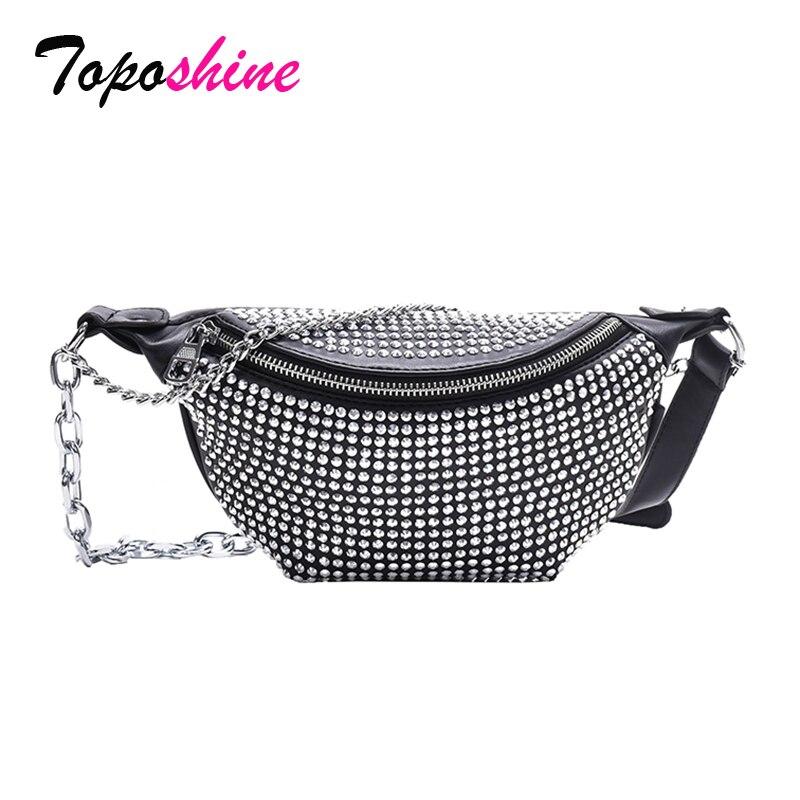 Toposhine diamantes completos saco da cintura feminina correntes frescas decorar moda menina cintura sacos de viagem no peito conveniente telefone bolsa de ombro