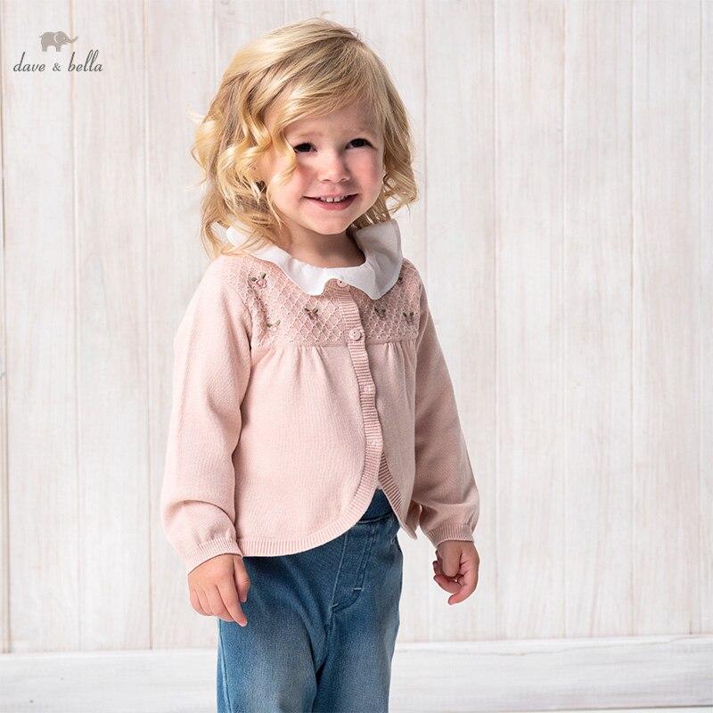 DBZ17130 нижнее белье в стиле бренда dave bella/весенняя одежда для младенцев; Для малышей Модная одежда для девочек с цветочной вышивкой, кардиган для детей ясельного возраста, пальто для детей, милый вязаный свитер|Свитера| | АлиЭкспресс