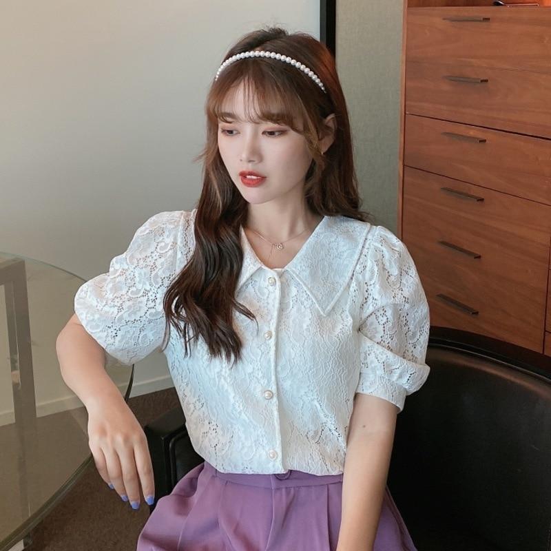 Purple Summer Girl 2020 Style Bubble Sleeve V-neck Girl Lace Shirt Short Sleeve White Top Women's Polo Shirt
