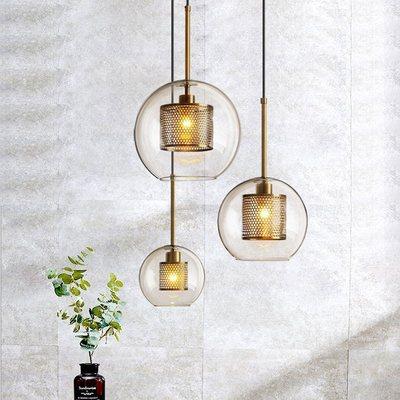 Nordic bronze lustre de vidro restaurante industrial única cabeça lustre luz luxo retro corredor bola vidro lustre