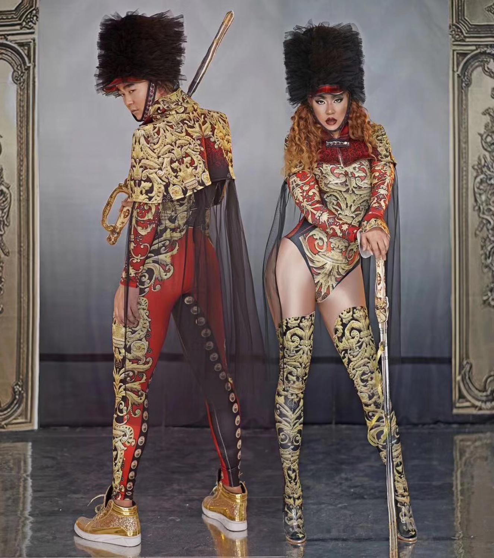 2020 hombre mujer nueva puesta en escena uniforme del ejército disfraz Cosplay traje estampado Vintage capa traje de baile ropa de espectáculo de rol