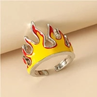opening rings for women creative flame new trendy hip hop ring metal charms vintage punk friendship adjustable jewelry men gift