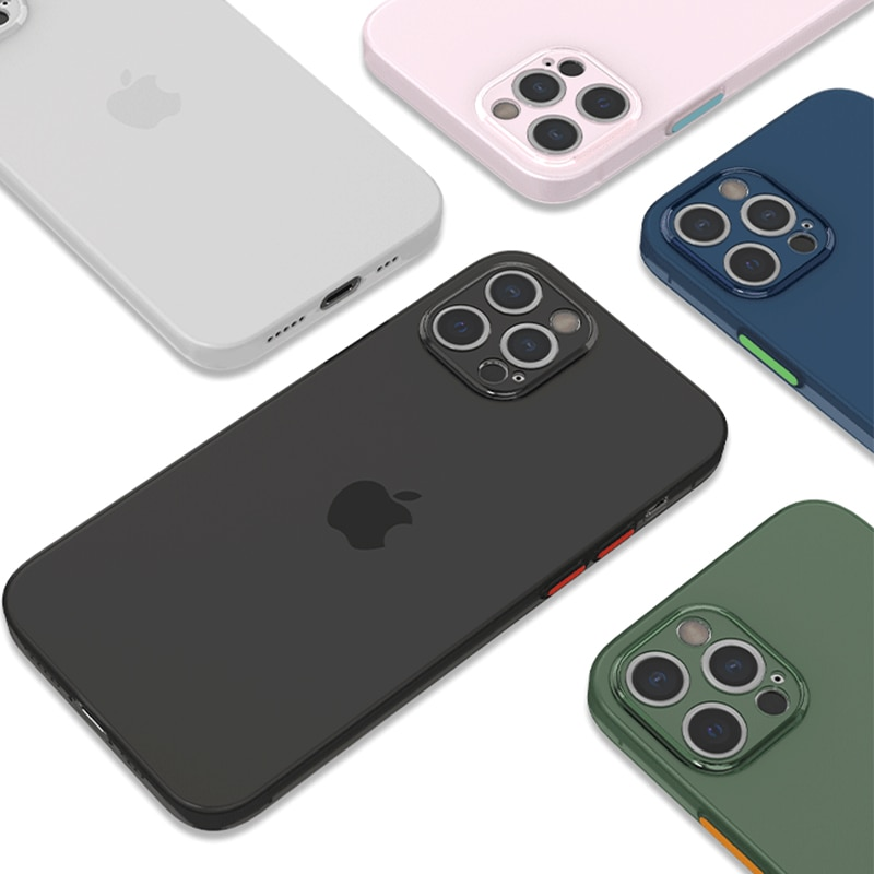 Ultra-thin Matte Silicone phone case for iPhone 12 11pro max mini candy colors cover TPU Shockproof