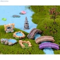 fairy resin garden decor mini craft figurine road cone grassland west lake lighthouse bridge grass pool ornament miniature