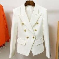 TOP QUALITY White Blazer Women 2021 Slim Elegant Blazers Jacket Women\'s Fitting Metal Lion Buttons Double Breasted Blazer Femme