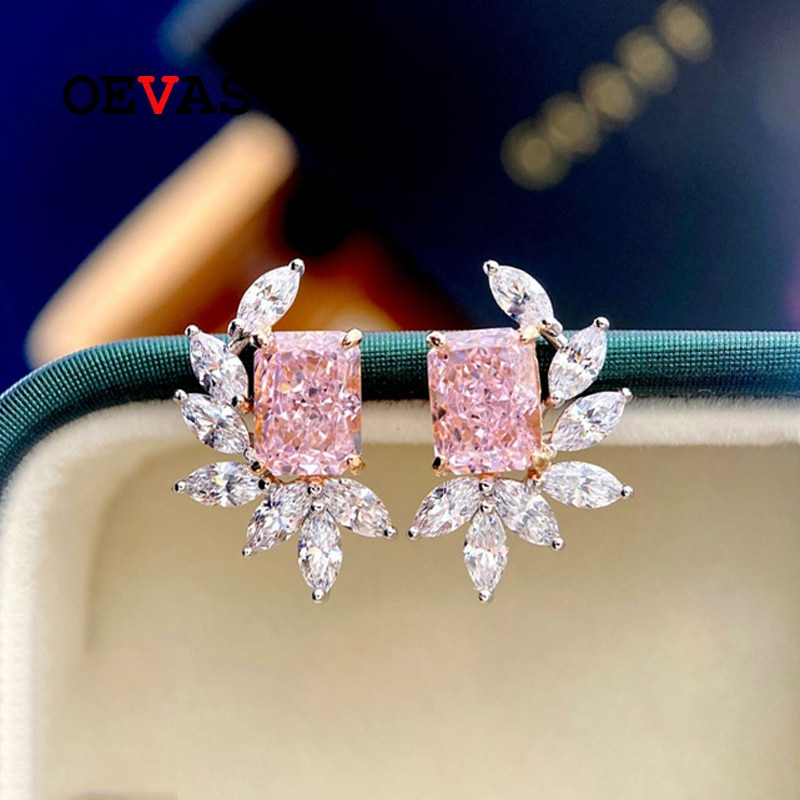 OEVAS 100% Sterling Silver Yellow Pink High Carbon Diamond Stud Earrings For Women Sparkling Wedding Fine Jewelry Wholesale Gift