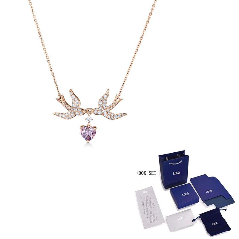 Collar de golondrina de amor para mujer, joyería de moda SWA, oro rosa, guardián de la suerte, golondrina de amor, regalo romántico