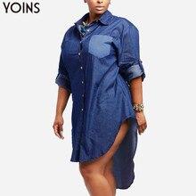 Otoño de 2020 YOINS mujer Denim Vintage manga larga solapa dobladillo Irregular larga camisa blusa jeans de talla grande vestido de gran tamaño