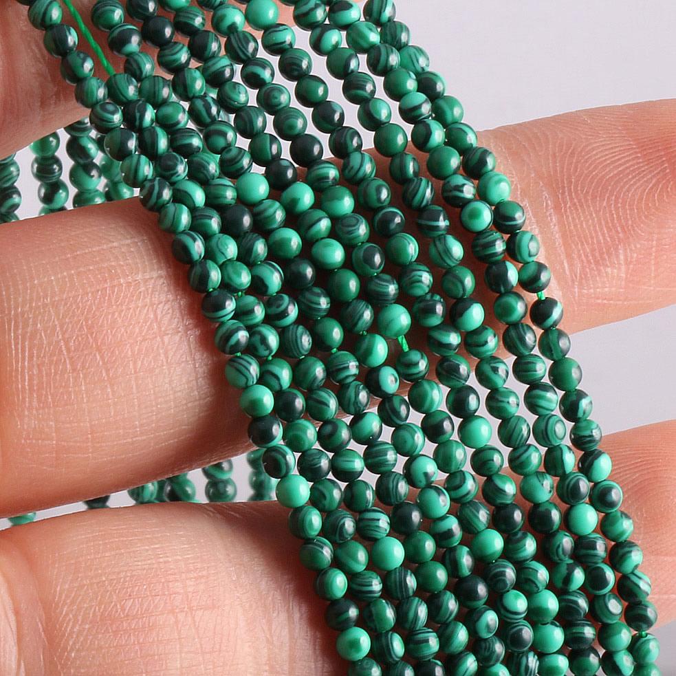 Venta al por mayor de cuentas de piedra Natural, piedra de malaquita para la fabricación de joyas, abalorios DIY, collar, pulsera, accesorios 2mm 3mm