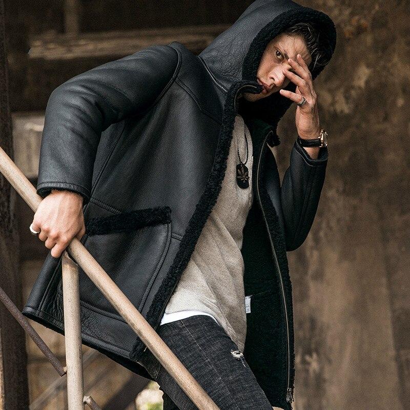 عالية الجودة الفراء واحد معطف جلد رجالي مقنعين سترة جلدية حقيقية الرجال الشتاء طويل أسود جلد الغنم السترات 5XL