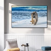 snow leopard wall art canvas painting animal nordic poster and prints painting winter landscape picture for home wall decoration